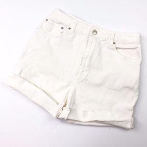 Vintage   White Denim Cut Off Raw Shorts Mom